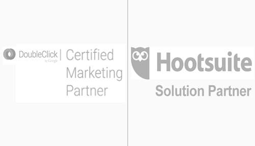 Doubleclick certified and Hootsuite Solution Partner Badge